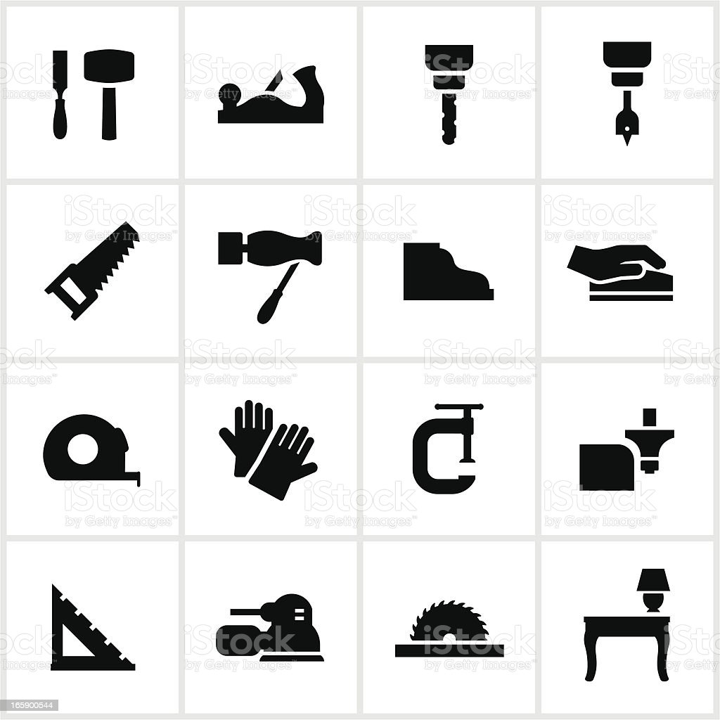 Woodworking Icons vector art illustration