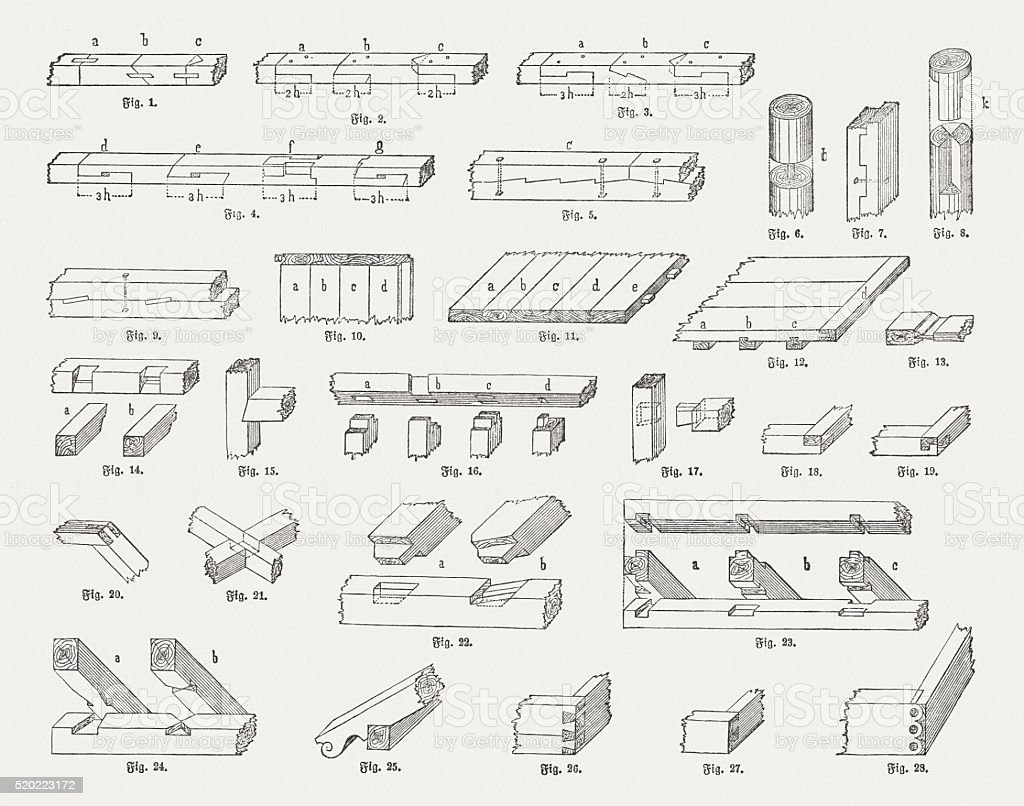 Woodworking joints, wood engravings, published in 1884 vector art illustration