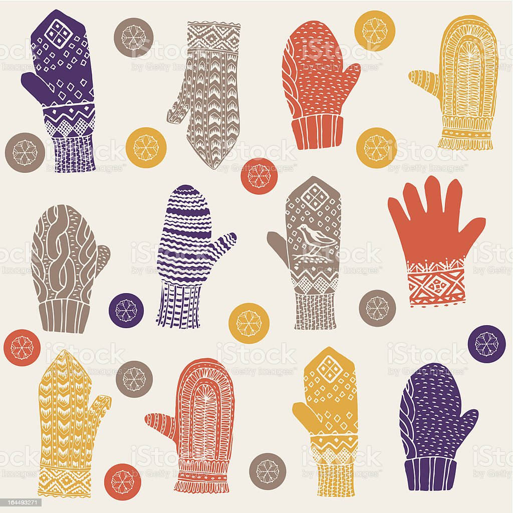 Woolly winter mittens and gloves vector art illustration