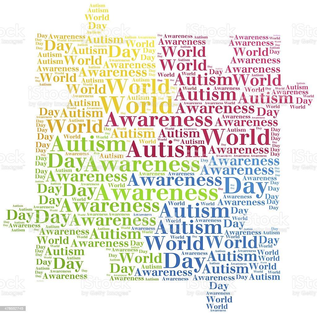 Word cloud Autism Awareness related vector art illustration