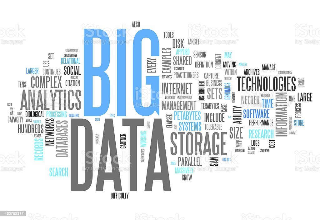 Word Cloud Big Data vector art illustration
