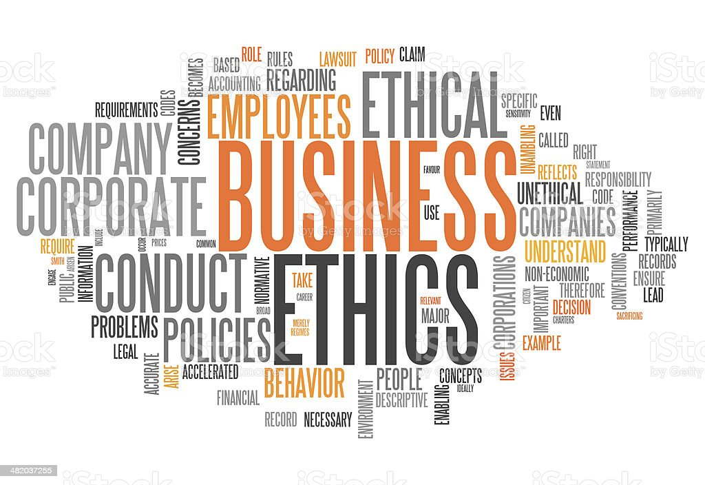 Word Cloud Business Ethics vector art illustration