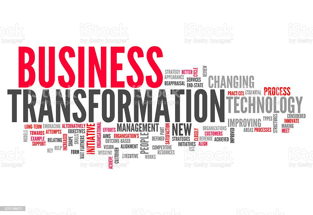 Word Cloud Business Transformation vector art illustration