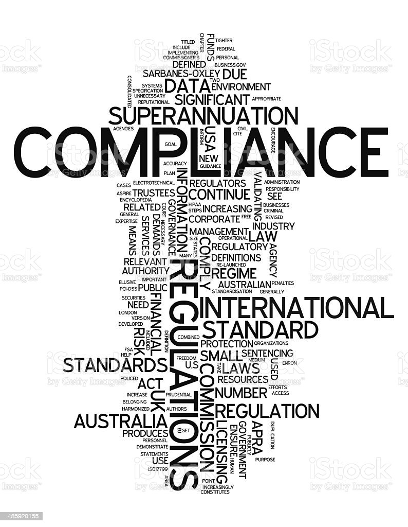 Word Cloud Compliance vector art illustration