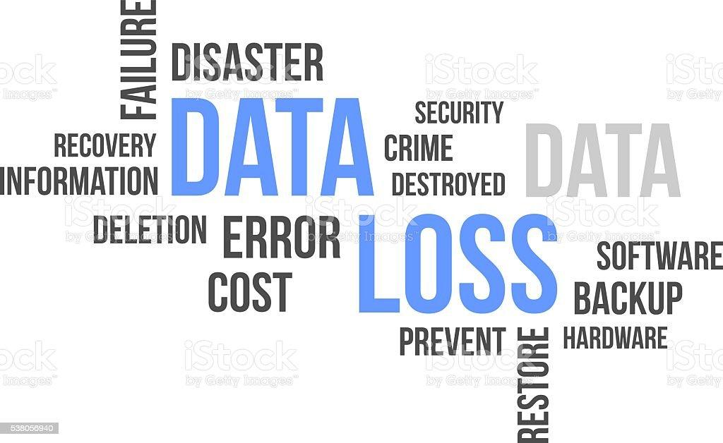 word cloud - data loss vector art illustration