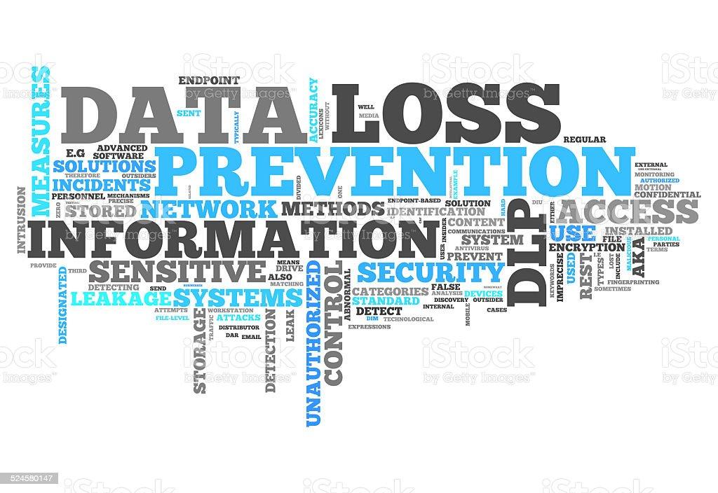 Word Cloud Data Loss Prevention vector art illustration