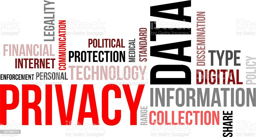 word cloud - data privacy vector art illustration