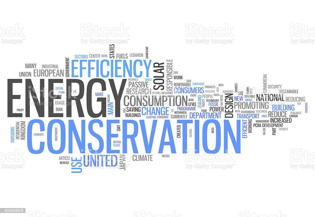 Word Cloud Energy Conservation vector art illustration