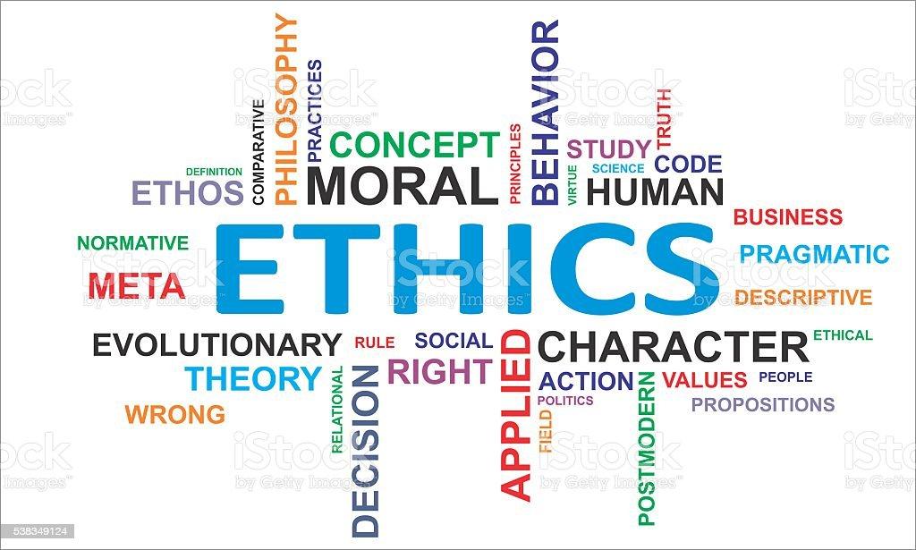 word cloud - ethics vector art illustration