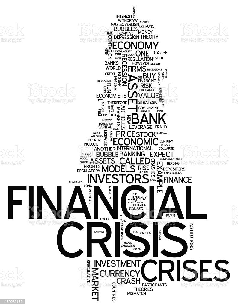 Word Cloud Financial Crisis vector art illustration
