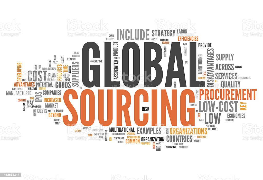 Word Cloud Global Sourcing vector art illustration
