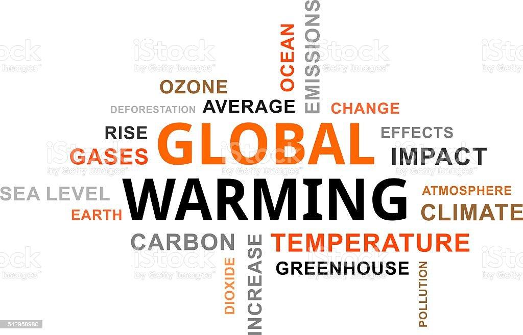 word cloud - global warming vector art illustration