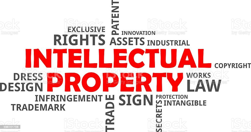 word cloud - intellectual property vector art illustration