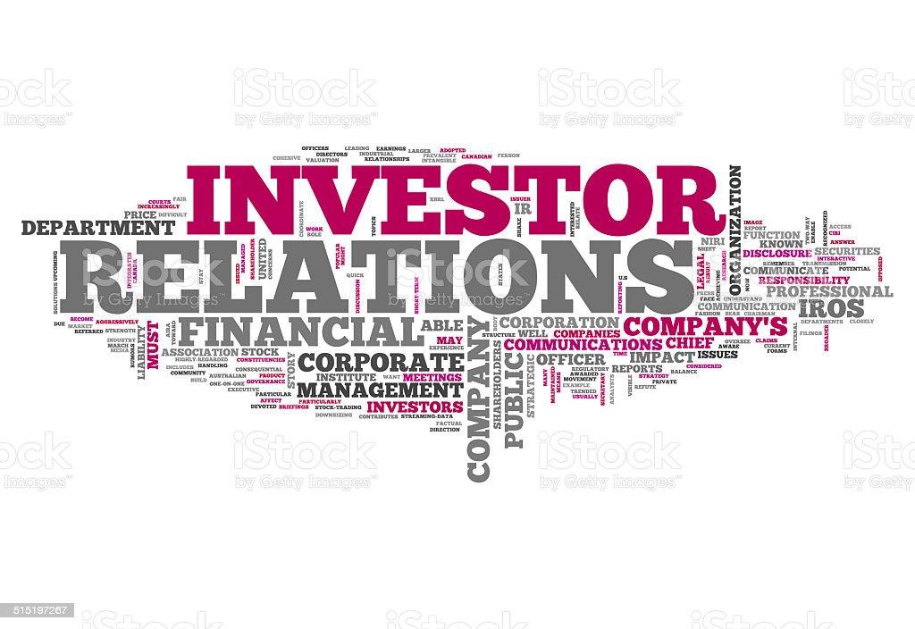 Word Cloud Investor Relations vector art illustration
