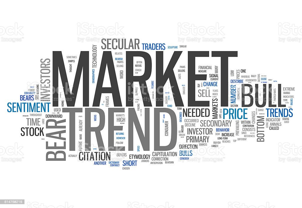 Word Cloud Market Trend vector art illustration