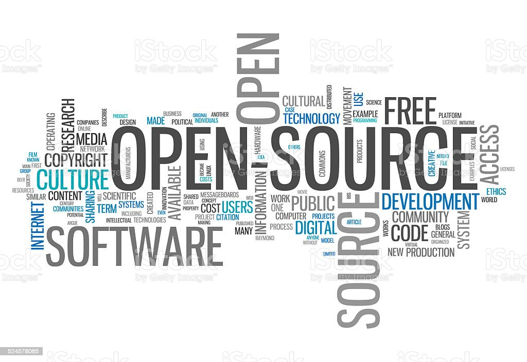 Word Cloud Open Source vector art illustration