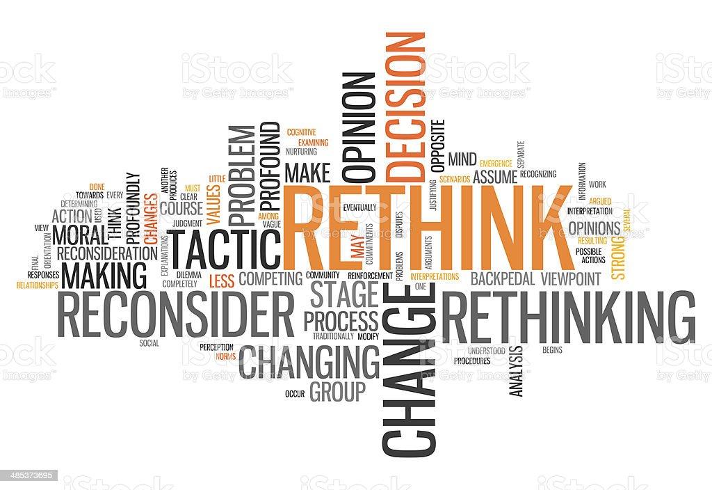 Word Cloud Rethink vector art illustration