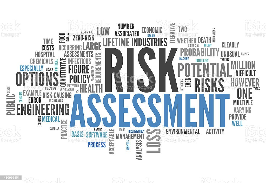Word Cloud Risk Assessment vector art illustration