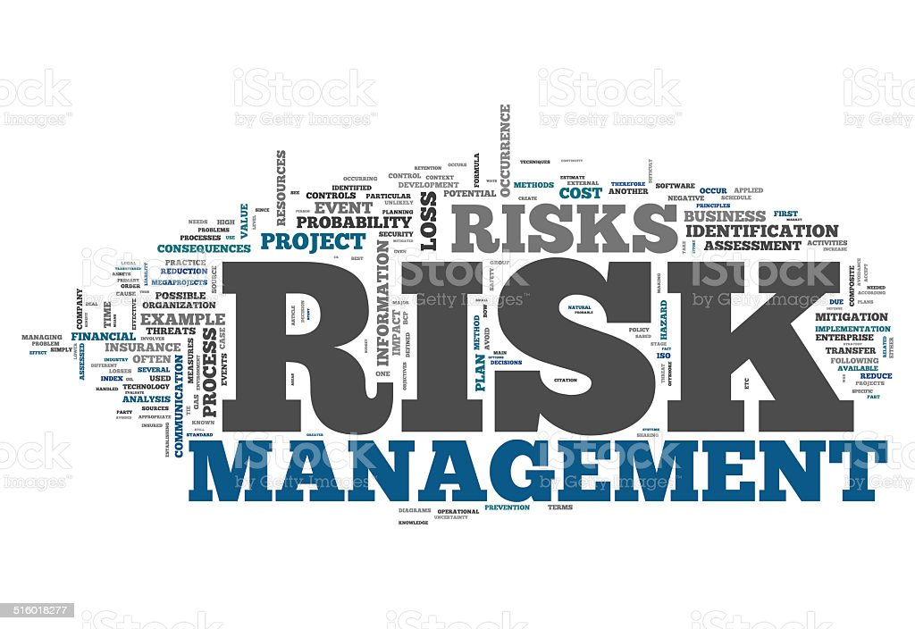 Word Cloud Risk Management vector art illustration