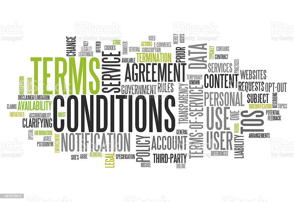Word Cloud Terms and Conditions vector art illustration