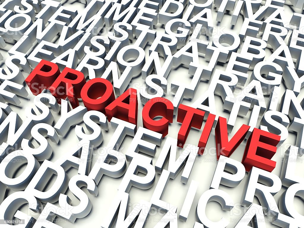 Word Proactive in red vector art illustration