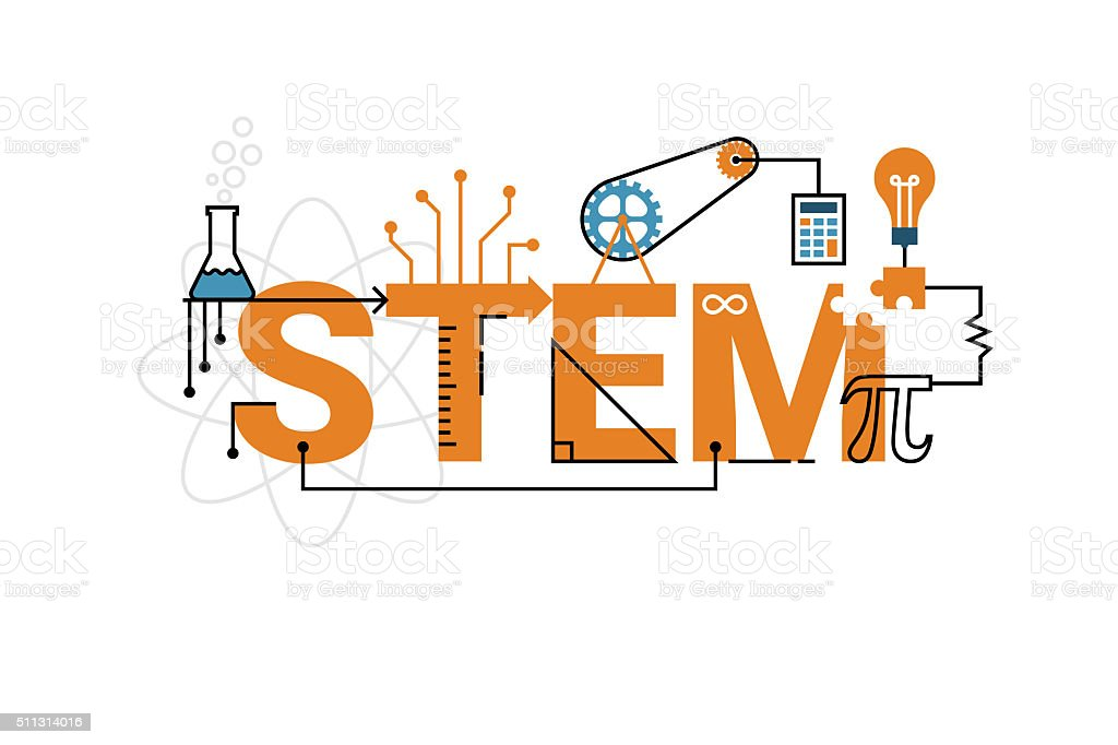 STEM word typography design vector art illustration