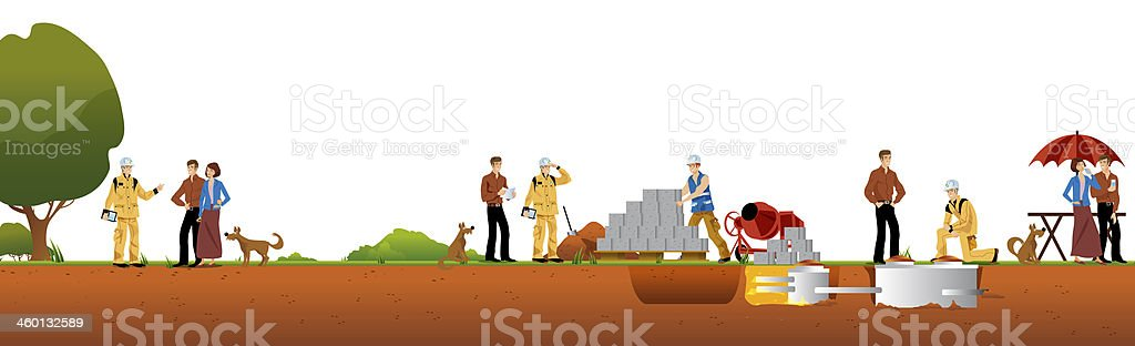 work and construction of houses vector art illustration