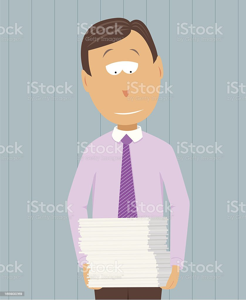 Work pending / Businessman carrying reports royalty-free stock vector art