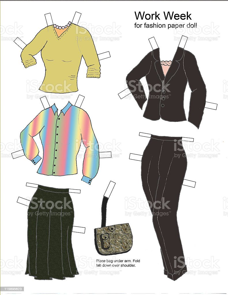 Work Week wardrobe for paper doll vector art illustration