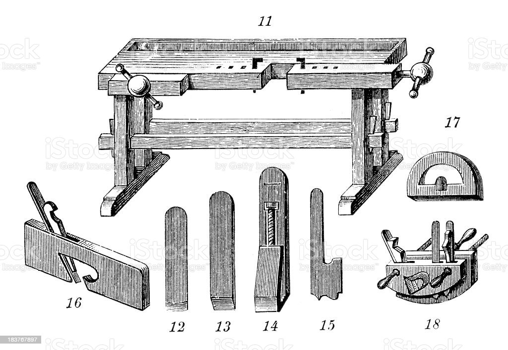 Workbench - Industrial Revolution Machinery vector art illustration