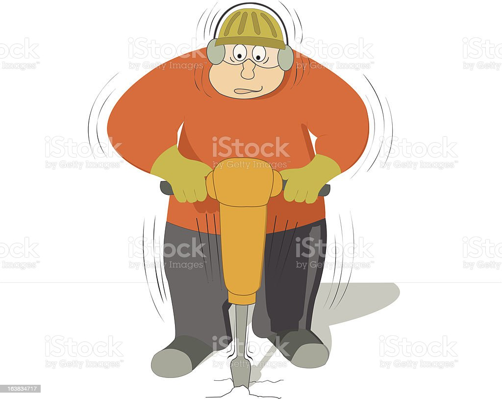 worker drilling the ground with a jackhammer royalty-free stock vector art