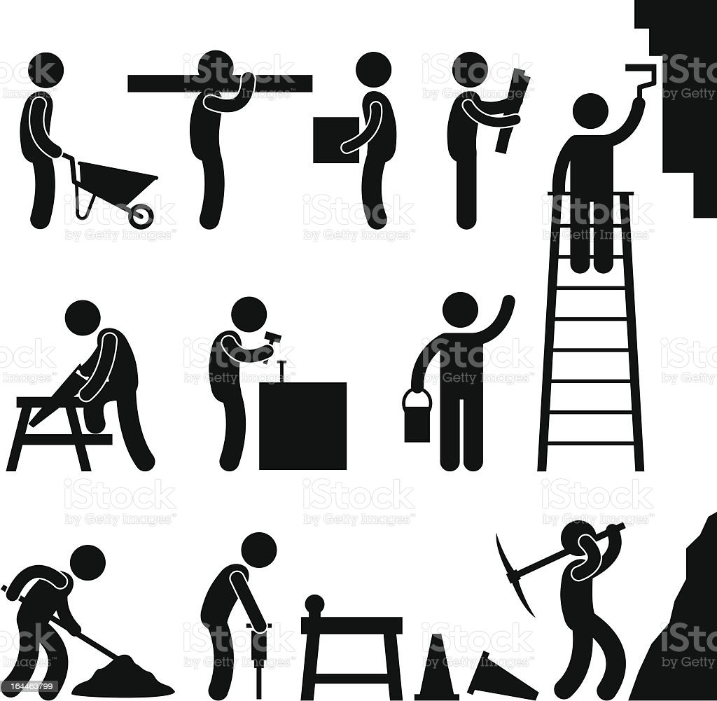 Working Construction Hard Labor Pictogram vector art illustration