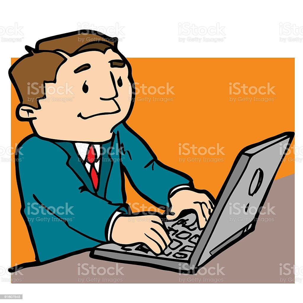 Working on a laptop royalty-free stock vector art