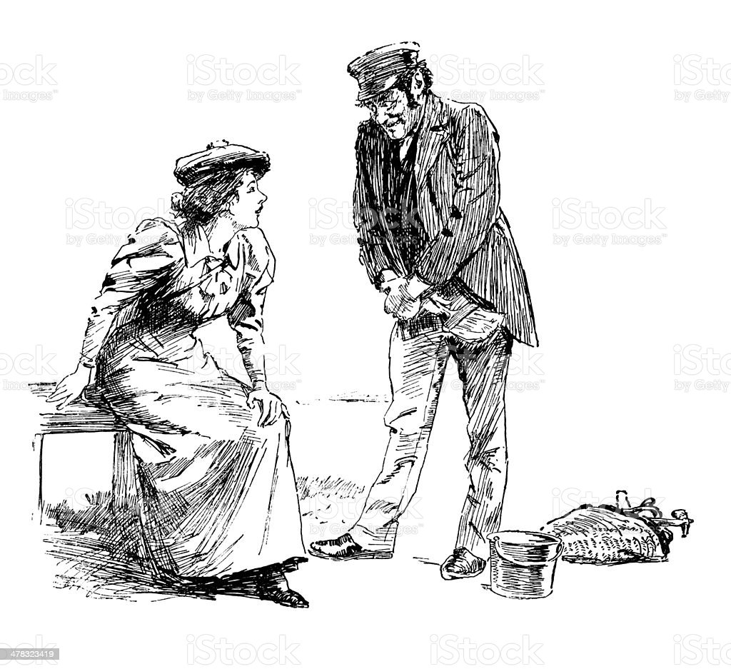 Workman chatting to a young woman royalty-free stock vector art