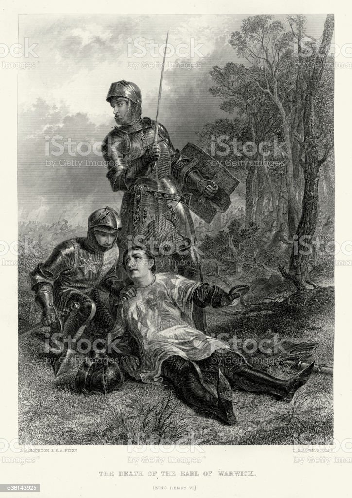 Works of William Shakespeare - Death of Earl Warwick vector art illustration