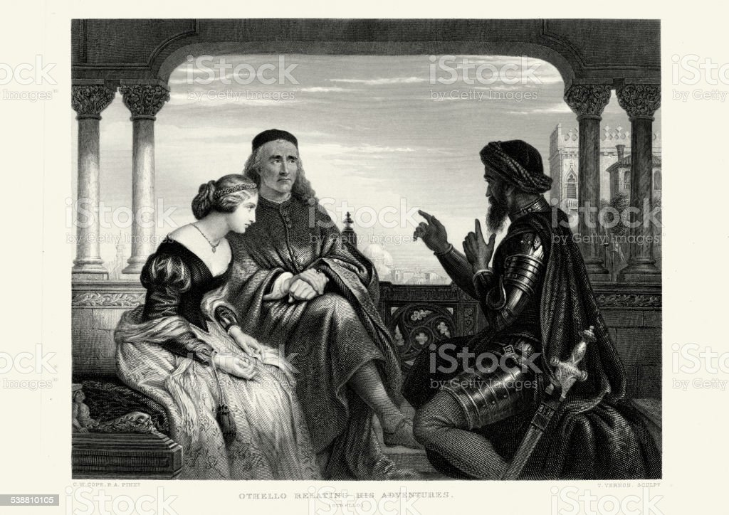 Works of William Shakespeare - Othello relating his adventures vector art illustration