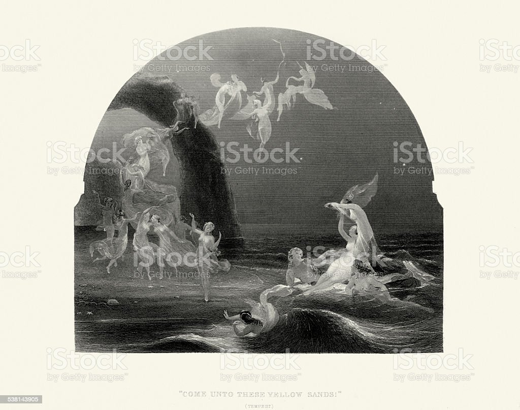 Works of William Shakespeare - The Tempest vector art illustration