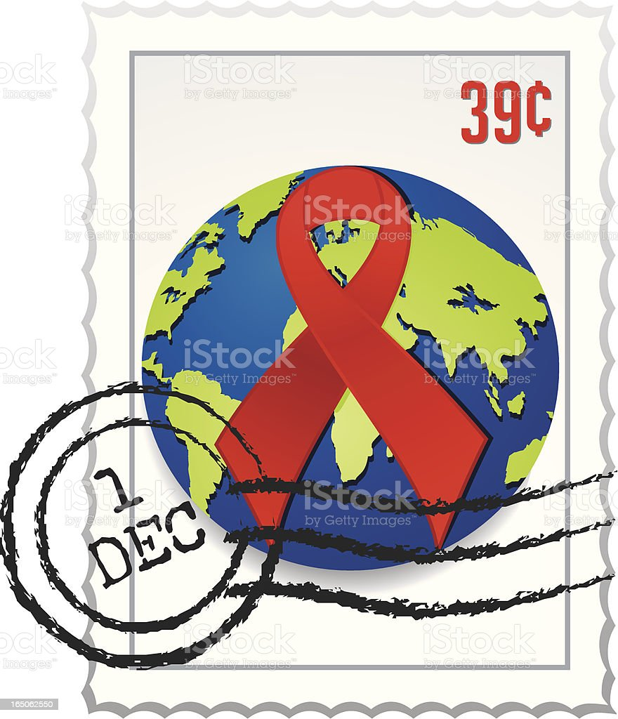World AIDS Day Postage Stamp royalty-free stock vector art