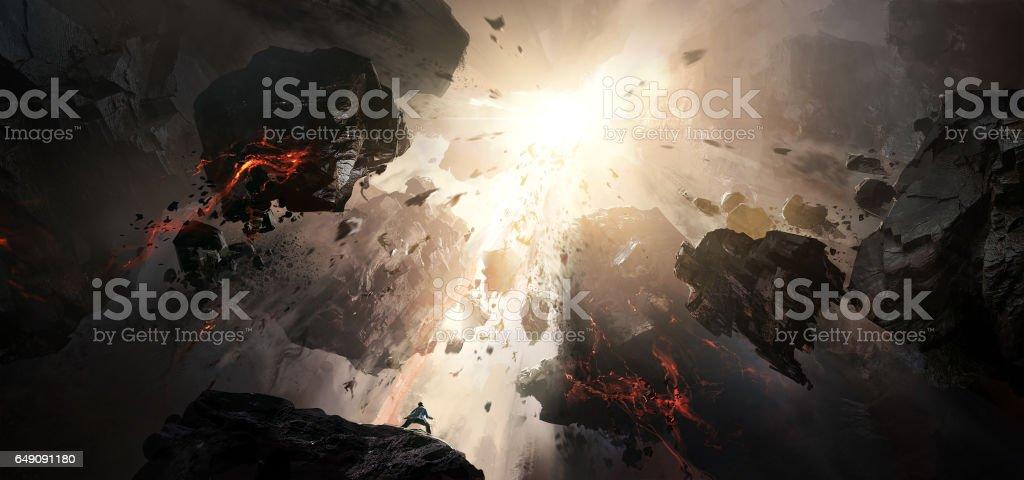World collapse, doomsday scene, digital painting. vector art illustration