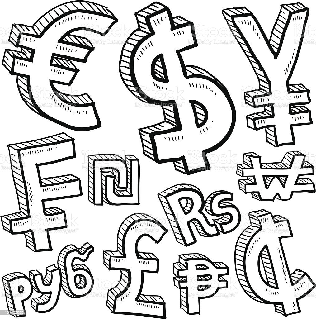World currency symbol sketches royalty-free stock vector art