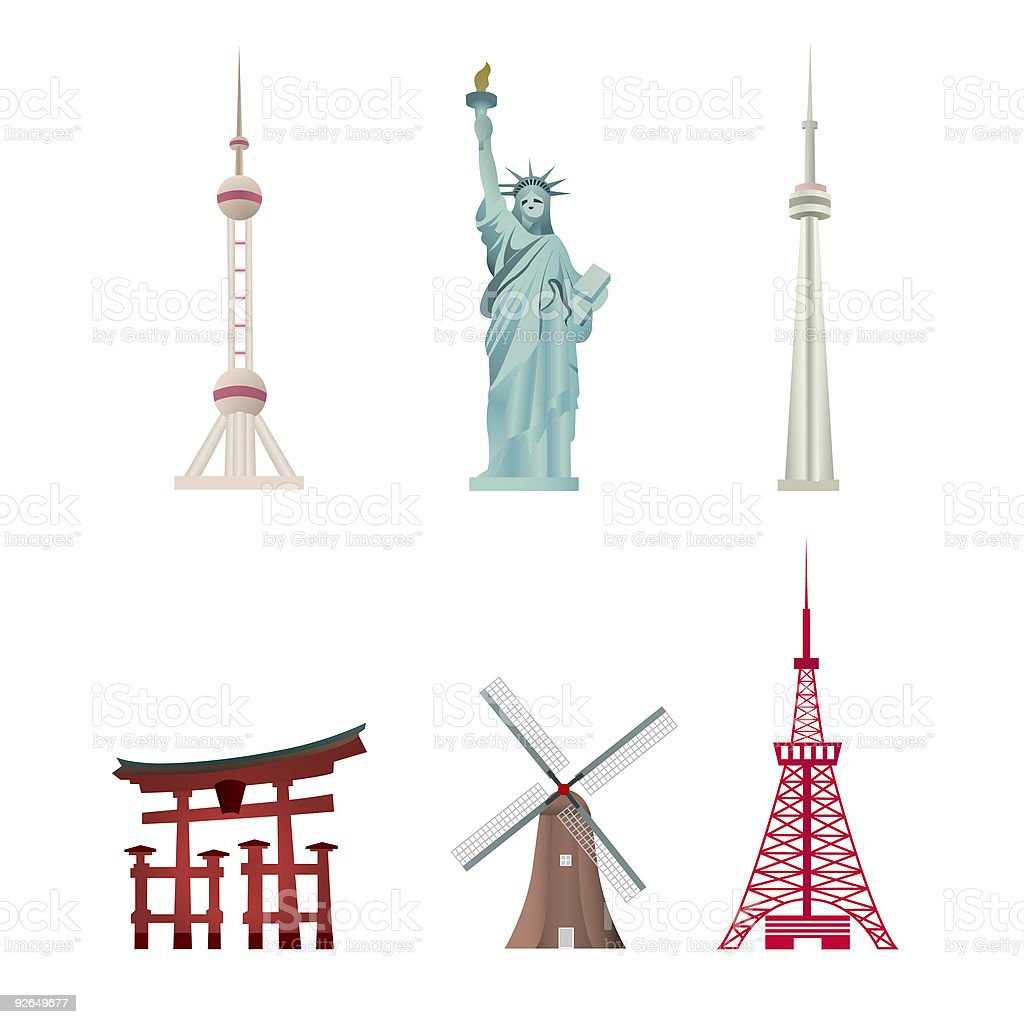 World Famous Landmarks royalty-free stock vector art