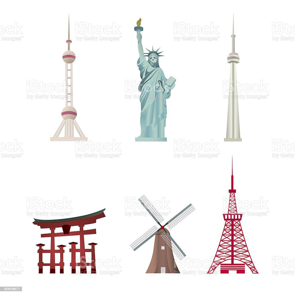World Famous Landmarks vector art illustration