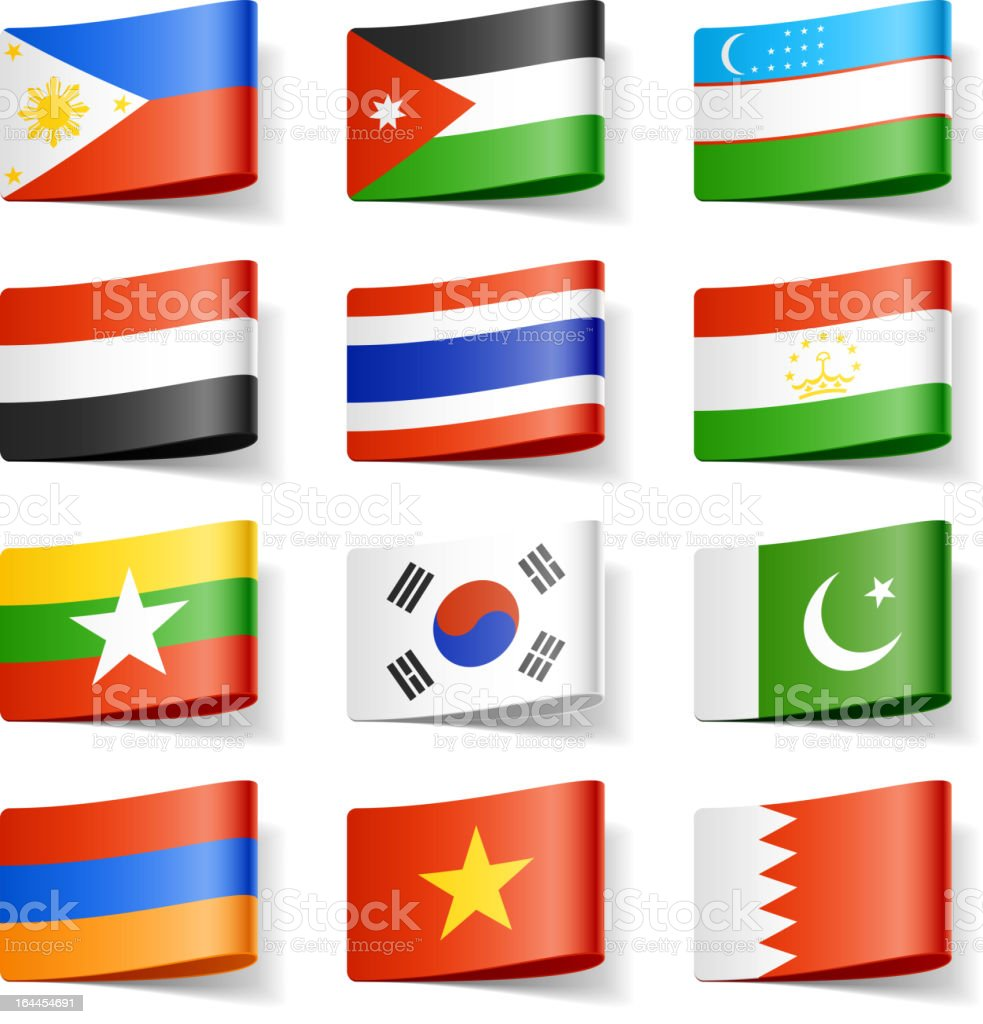 World flags. Asia. royalty-free stock vector art