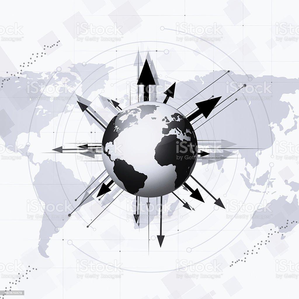 World Globe with Arrows Around royalty-free stock vector art