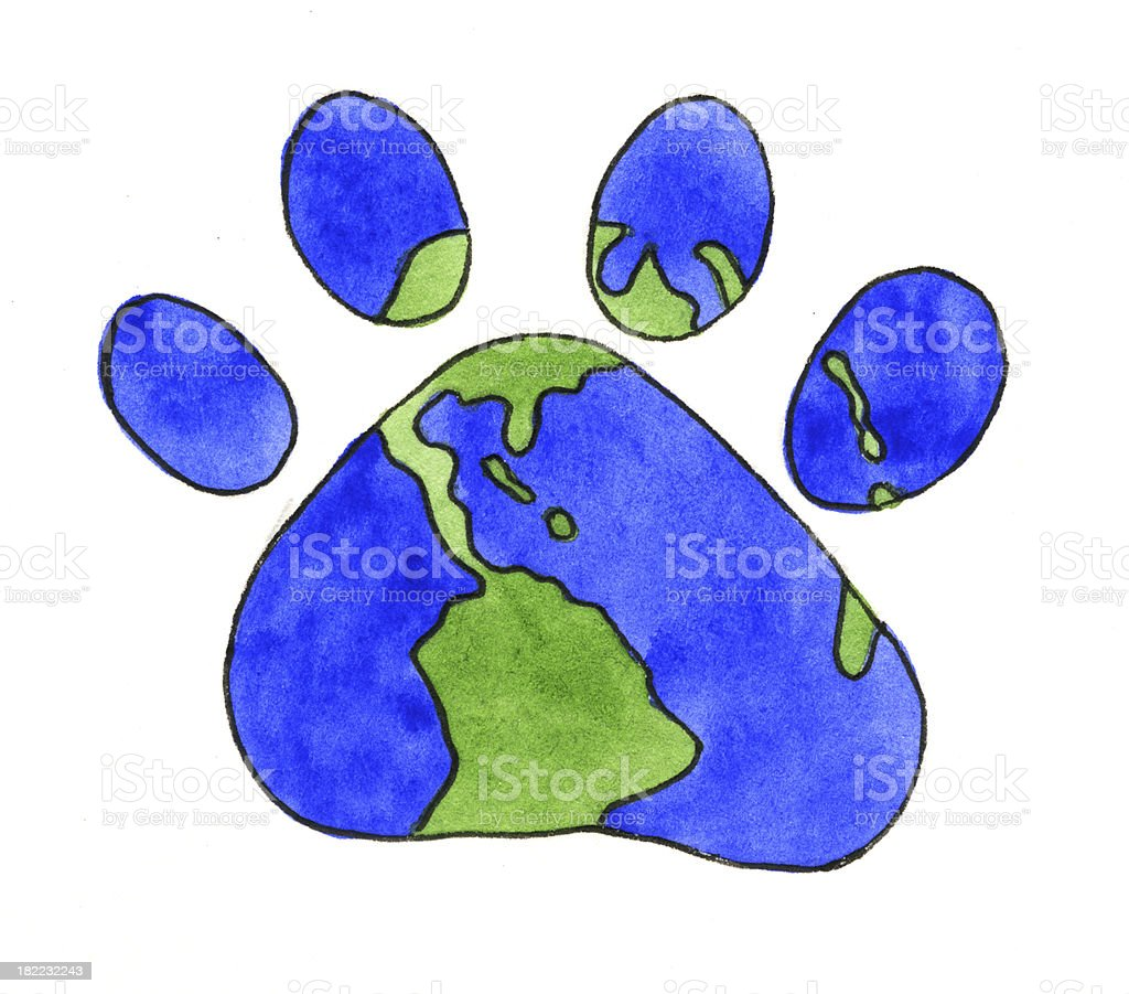 World in shape of Paw royalty-free stock vector art