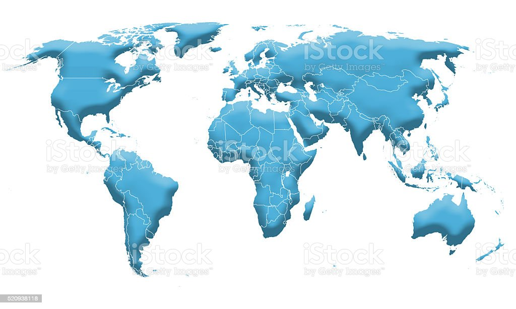 World map 3d stock photo