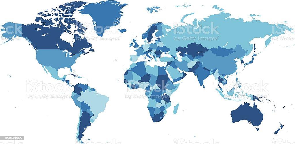 World Map Blue royalty-free stock vector art