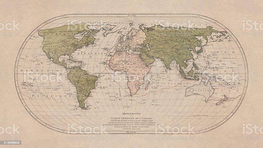 World map by Mathieu Albert Lotter, Augsburg, 1778 vector art illustration