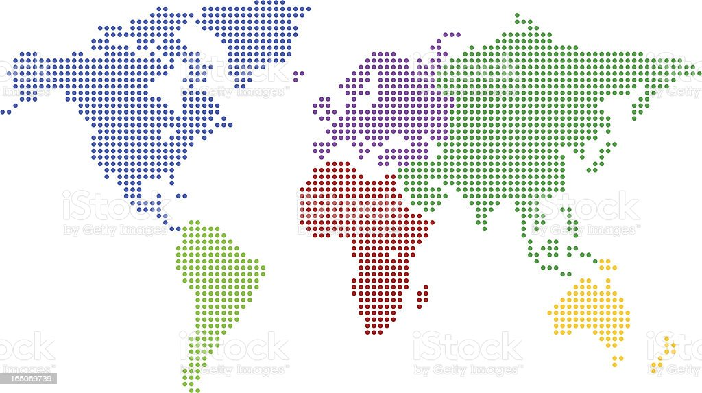 World Map |  Colored Pixel vector art illustration