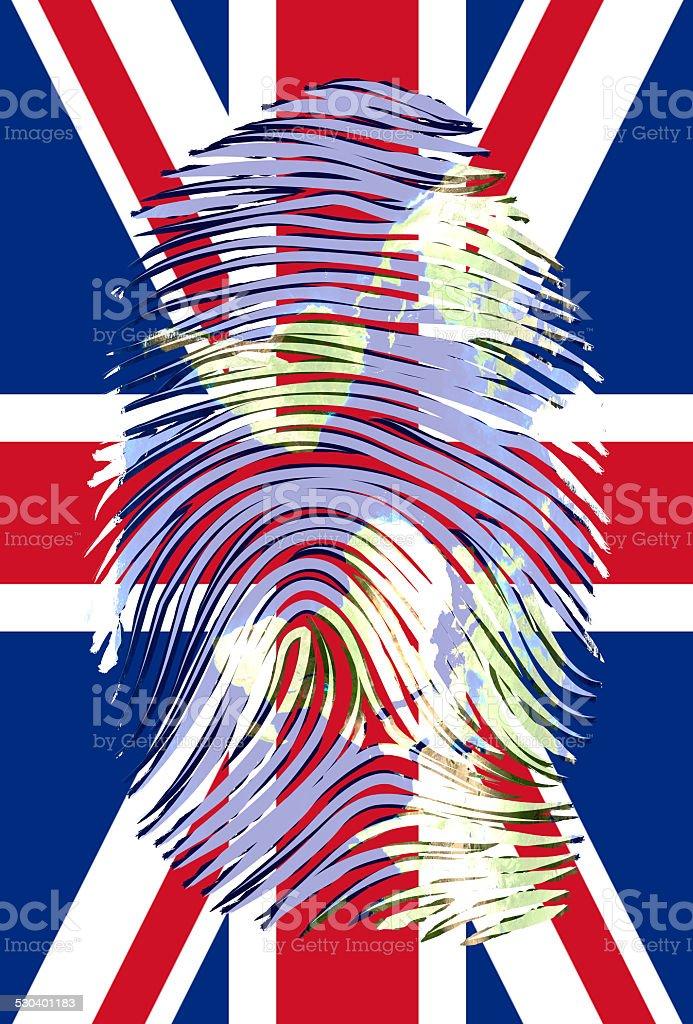 World Map Finger Mark over UK Flag vector art illustration